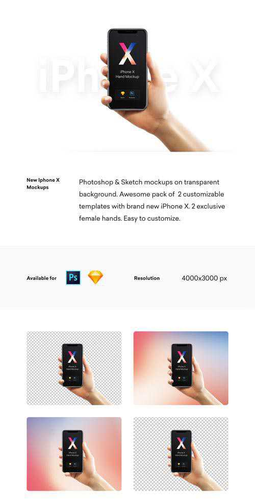 iPhone X 2 Hands - 2 Female hands holding iPhone X mockups for Photoshop & Sketch