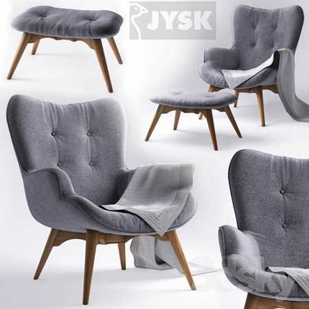 Armchair with pouf EJERSLEV