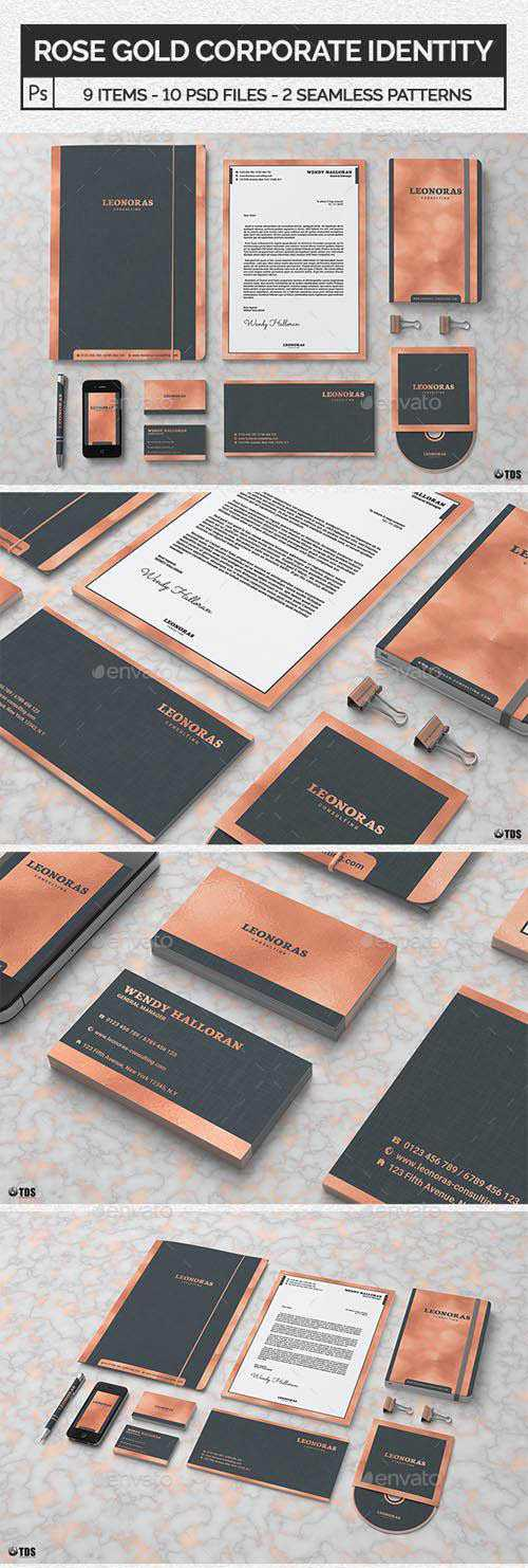 Rose Gold Corporate Identity Template 20723981