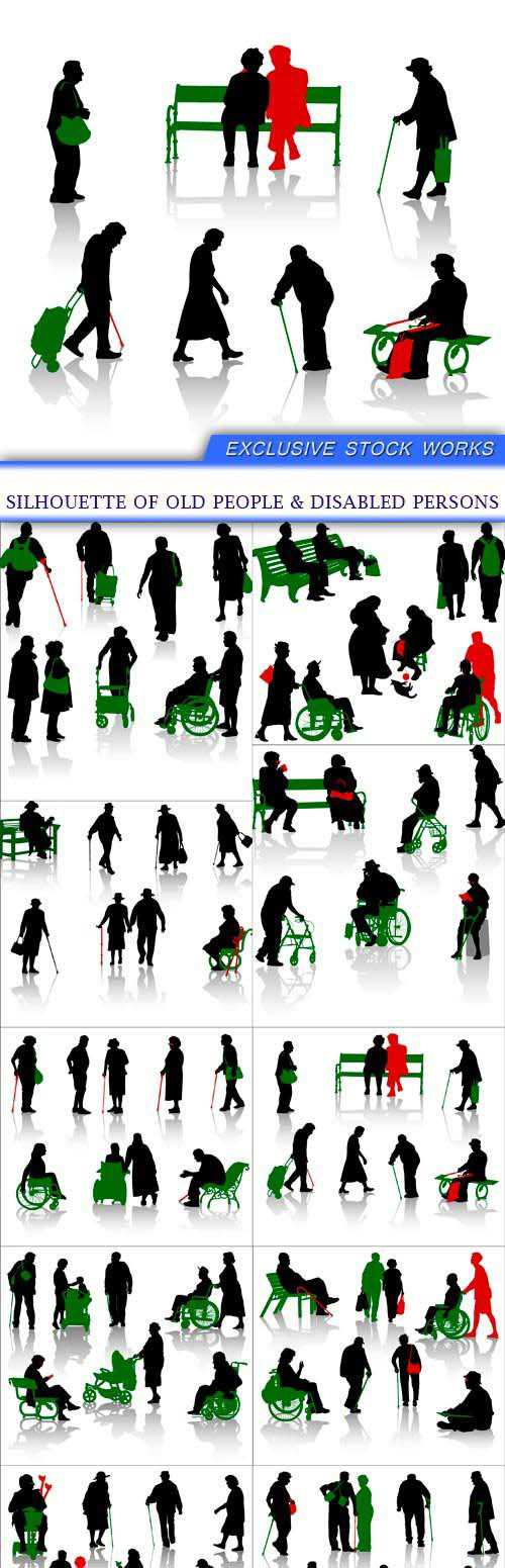 Silhouette of old people & disabled persons