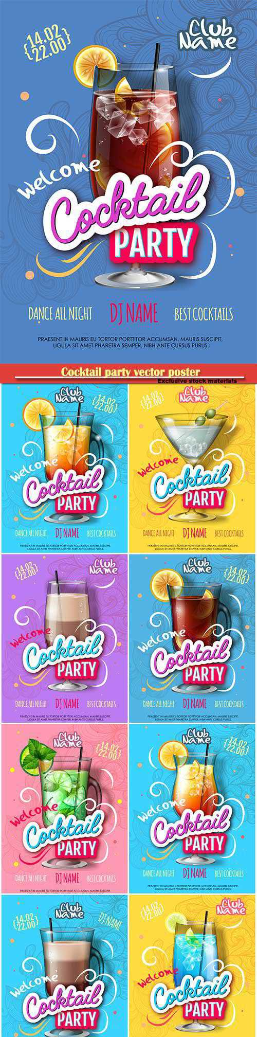 Cocktail party vector poster in eclectic modern style