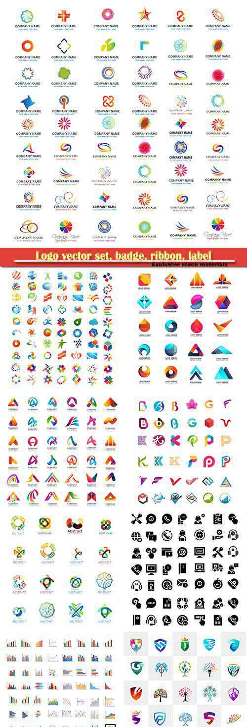 Logo vector set, badge, ribbon, label and icon # 3