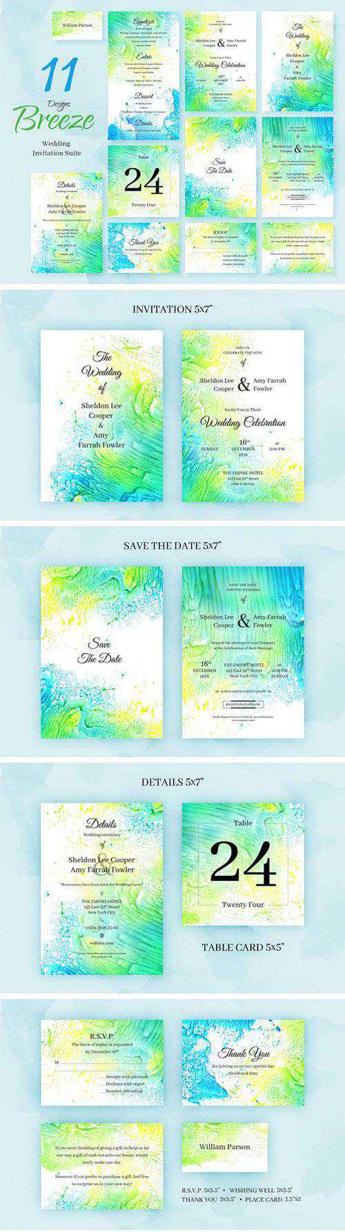 Breeze. Wedding Invitation Package
