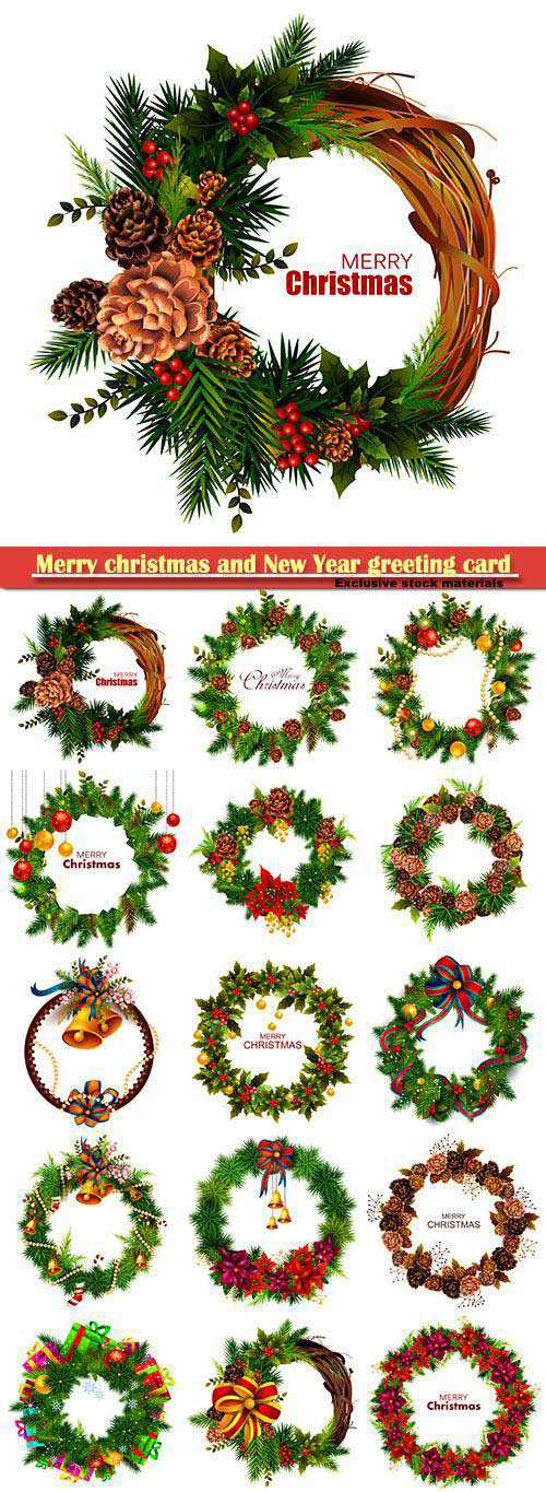 Christmas wreaths, Merry christmas and New Year greeting card vector 10