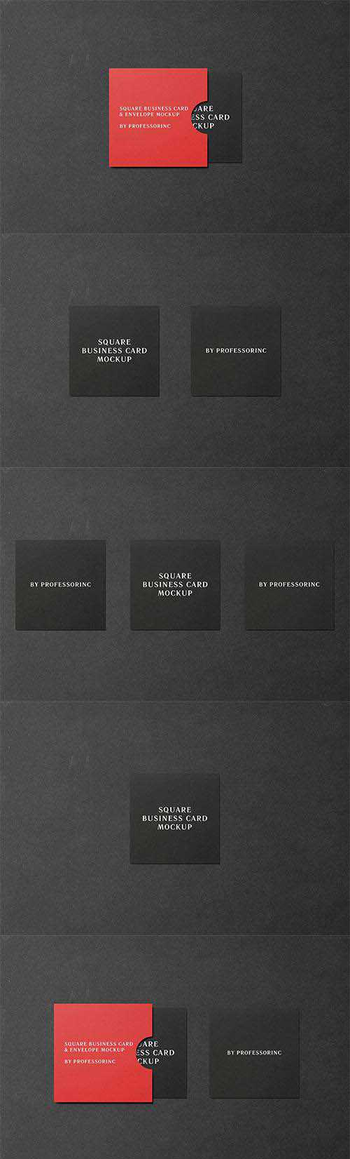 PSD Square Business Card Mockup - Black Edition