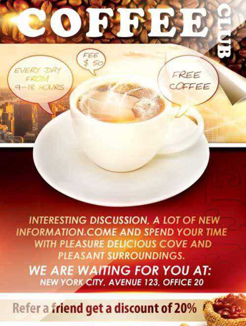 offee Club Flyer PSD Template + Facebook Cover