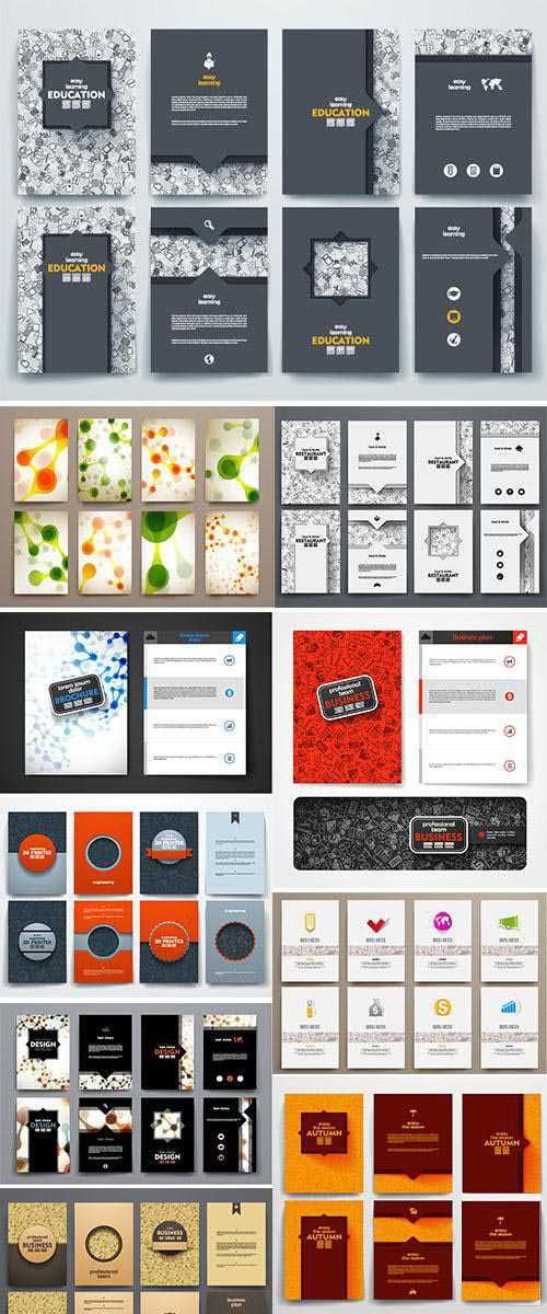 Stock Design brochures with doodles backgrounds on business theme