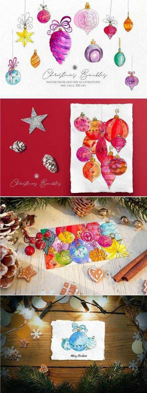 Christmas Watercolor Baubles 3022632