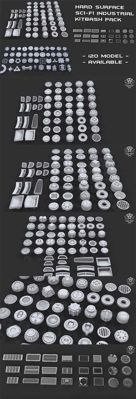 Cgtrader Hard Surface Sci-Fi Industrial KitBash 3 PACK Low-poly 3D model
