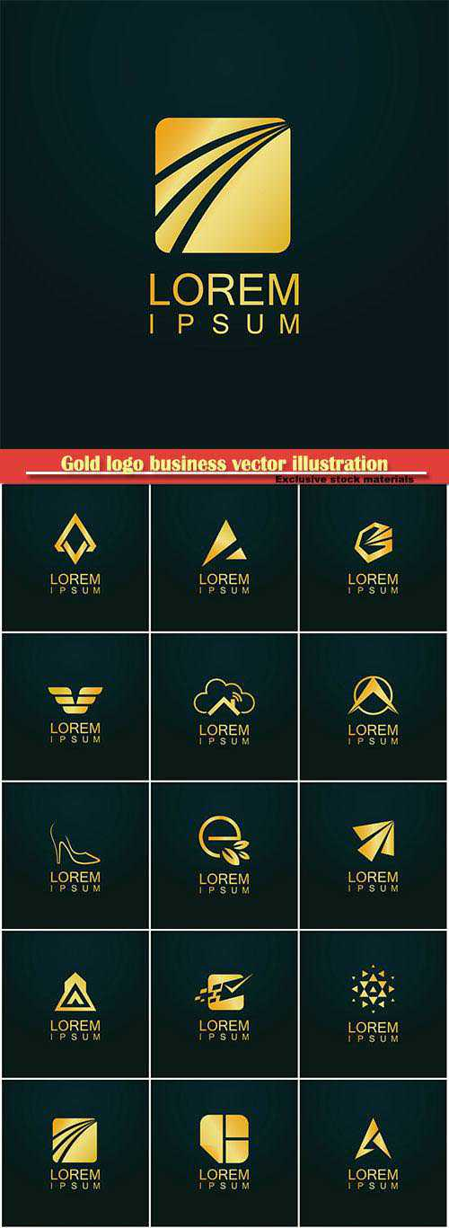 Gold logo business vector abstract illustration set 46
