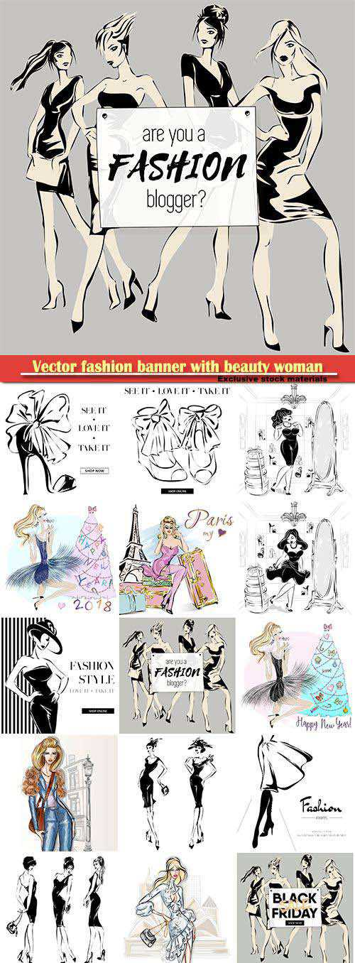 Vector fashion banner with beauty woman models
