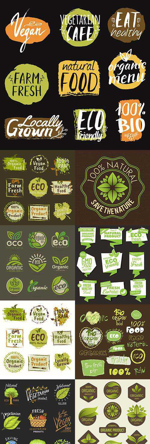 Natural green eco organic products collection of labels