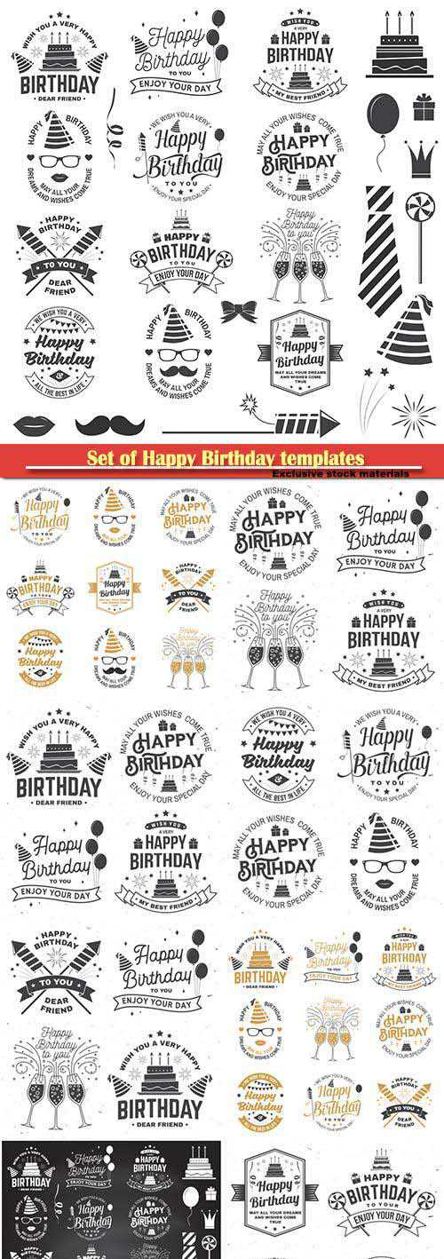 Set of Happy Birthday templates for overlay, badge, sticker