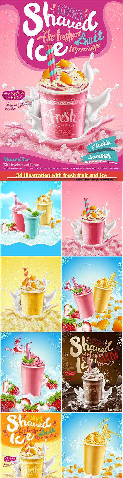 3d illustration with fresh fruit and ice elements, syrup ice shaved ads with creamy topping and spla…