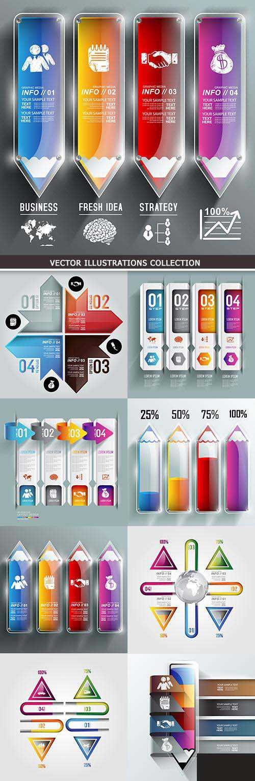 Business infographics options elements collection 40