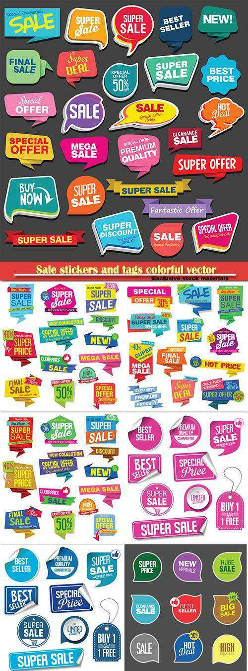 Sale stickers and tags colorful vector collection