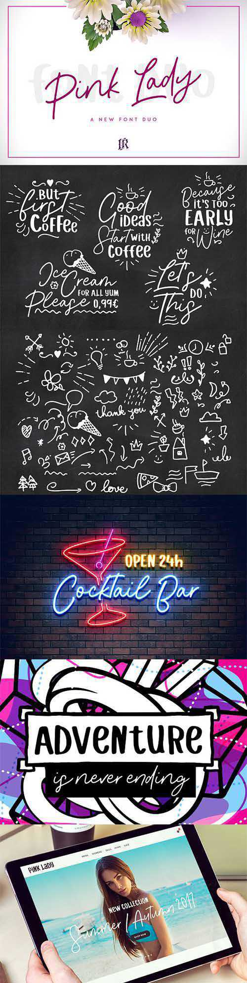 Pink Lady Font Duo 1762794