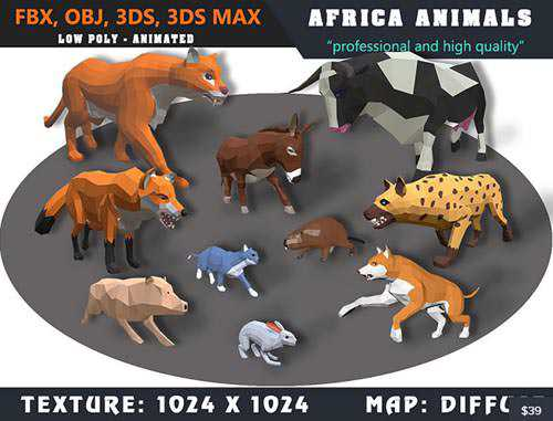 Cubebrush - Animals Africa Cartoon Collection - Animated 03