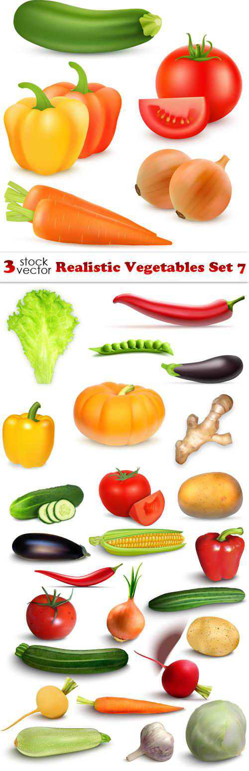 Realistic Vegetables Set 7