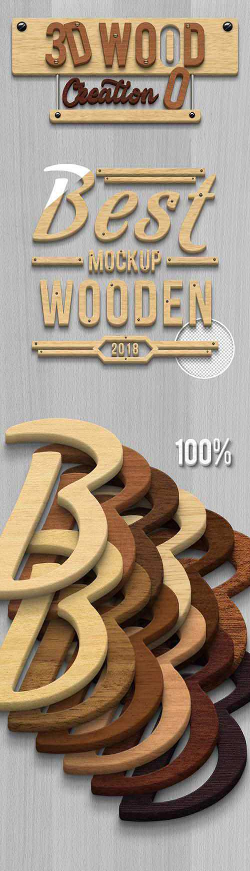 GraphicRiver – 3D Wood Creation Mockup 21256494