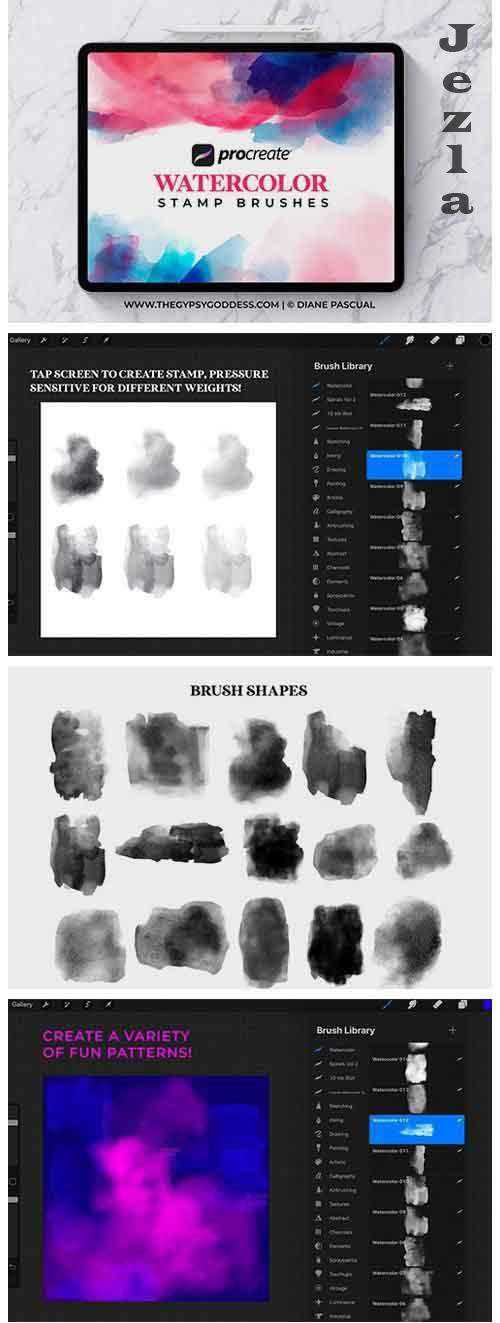 Procreate Watercolor Stamp Brushes - 4832930