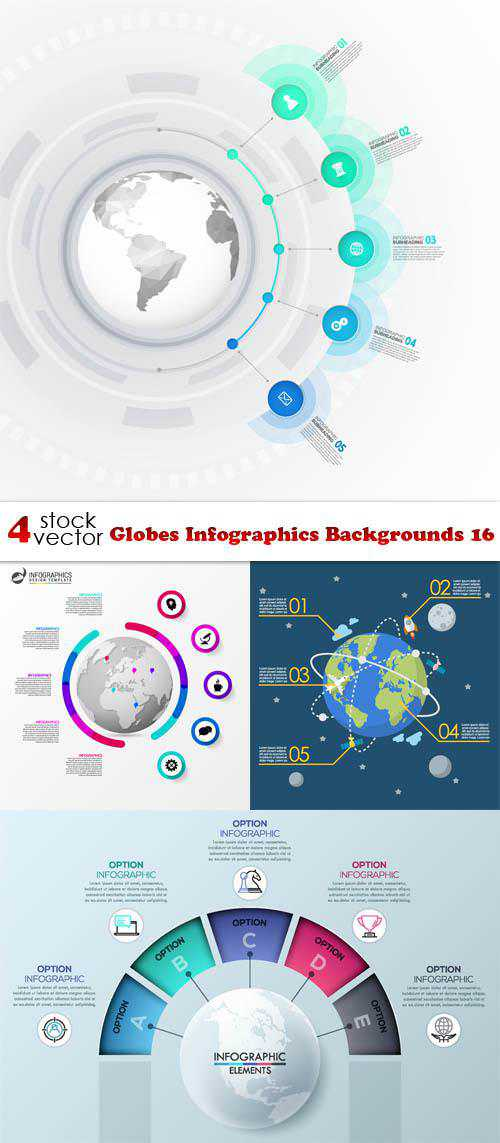 Globes Infographics Backgrounds 16