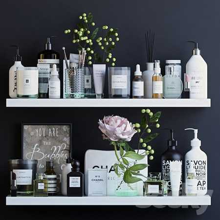 Shelves with cosmetics and bathroom decor 1